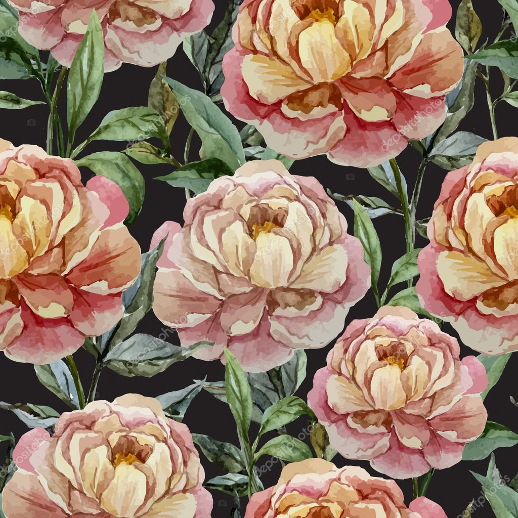 Beautiful vector watercolor pattern with peonies on black fon1