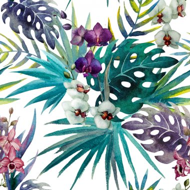 pattern orchid hibiscus leaves watercolor tropics