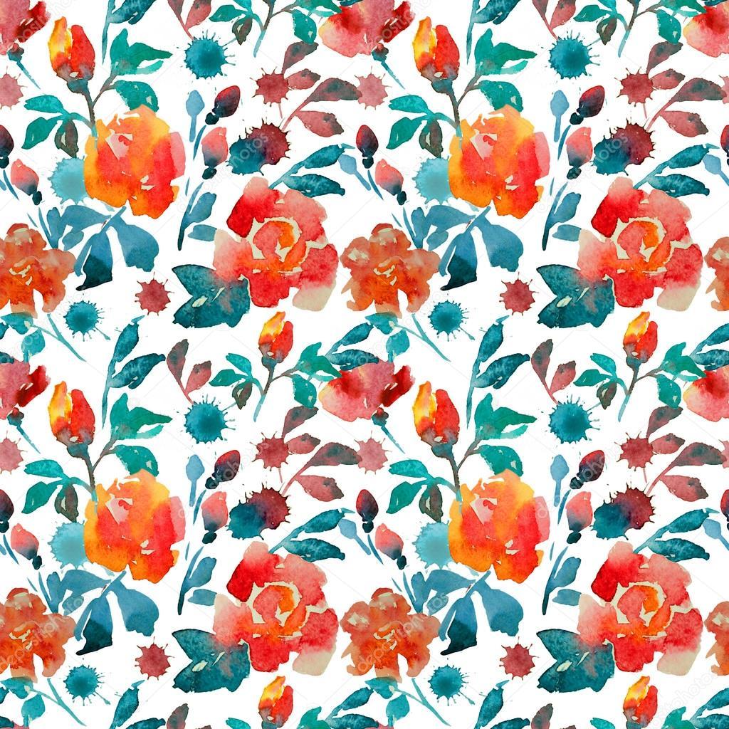 rose, watercolor, pattern