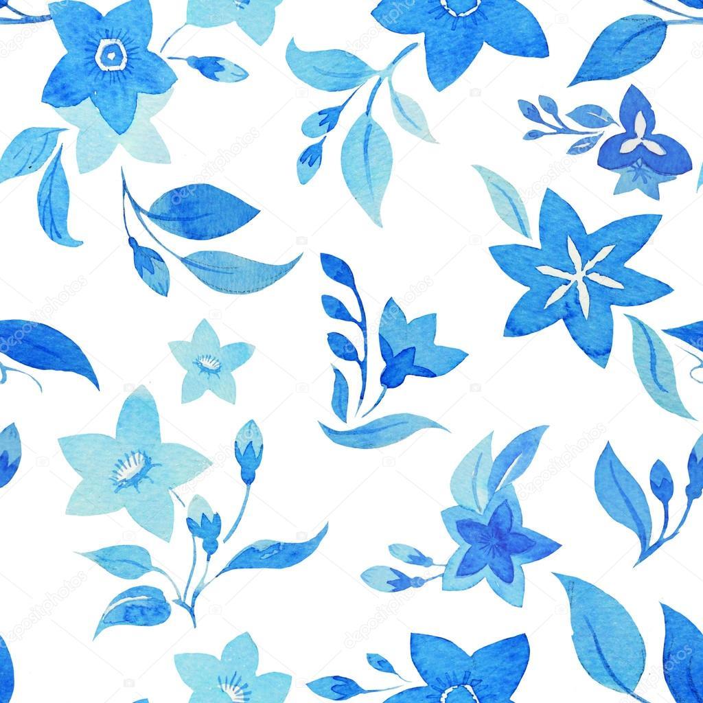 Vintage Blue Flowers Pattern Stock Photo Zeninaasya 63191991