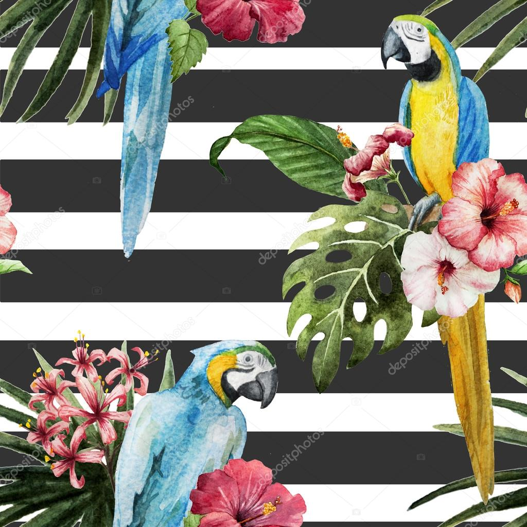 Tropical  pattern with birds