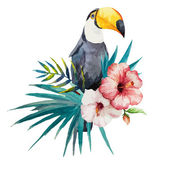 Photo Watercolor toucan with flower