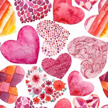 Watercolor hearts pattern  - vector illustration clip art vector