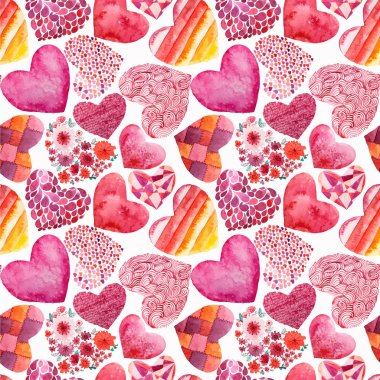 Watercolor hearts pattern  - vector illustration clip art vector