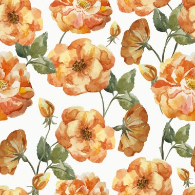 Watercolor roses pattern