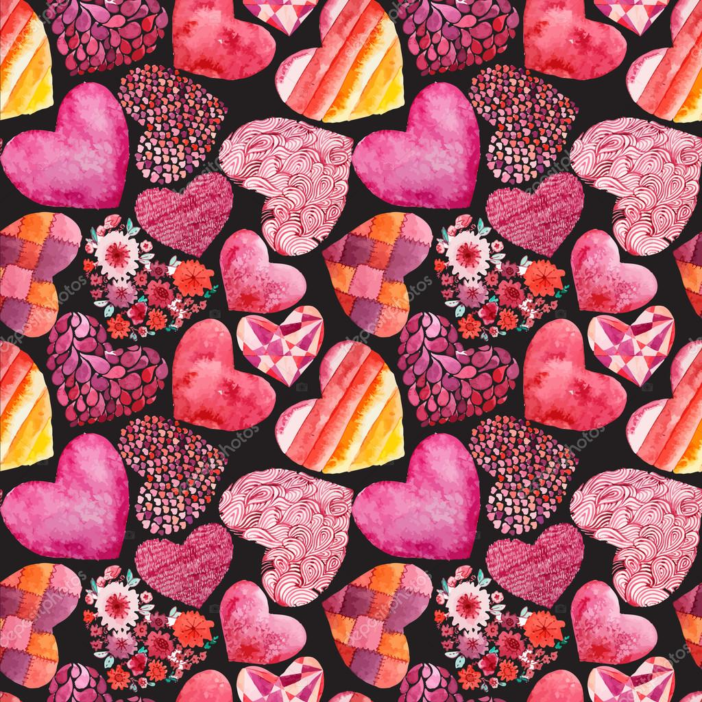 Watercolor hearts pattern  - vector illustration clipart vector