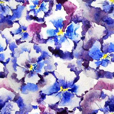 Watercolor pansies  pattern
