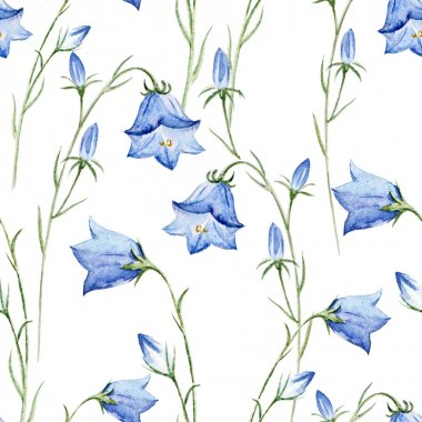 Watercolor bell flowers background