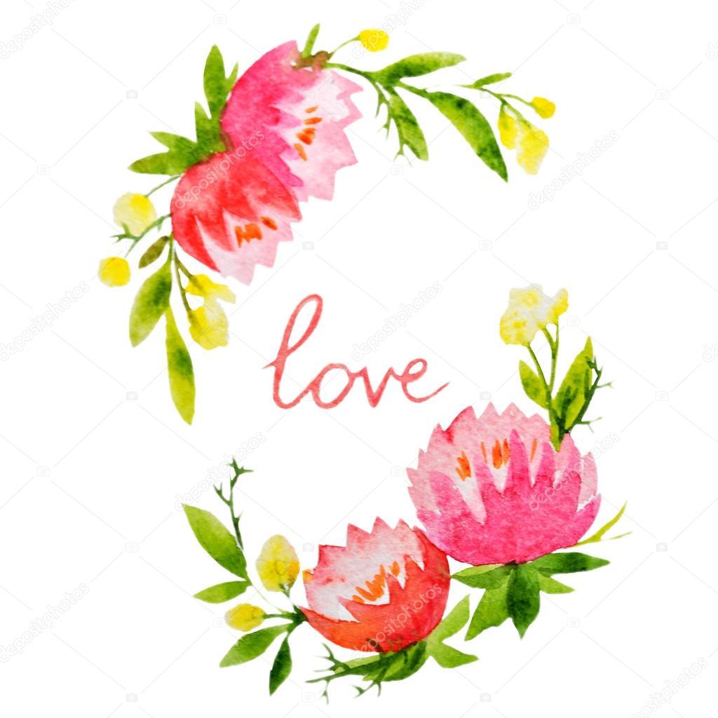 Aquarell-Kranz-Rahmen mit Blumen — Stockfoto © ZeninaAsya #63267611