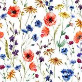 Fotografie Watercolor poppy, cornflower, daisy wild flowers background