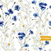 Akvarel máku, chrpy, pozadí divokých květů sedmikrásky