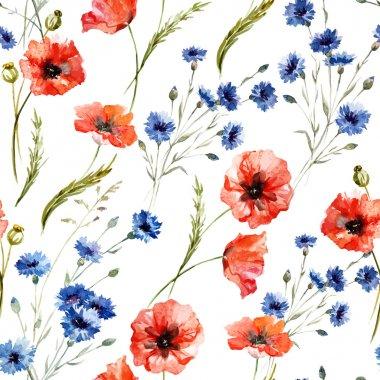 Watercolor poppy flowers