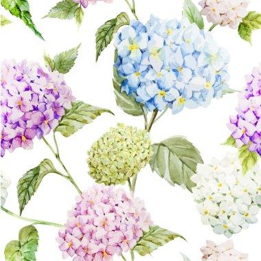 Hydrangea Watercolor flowers pattern