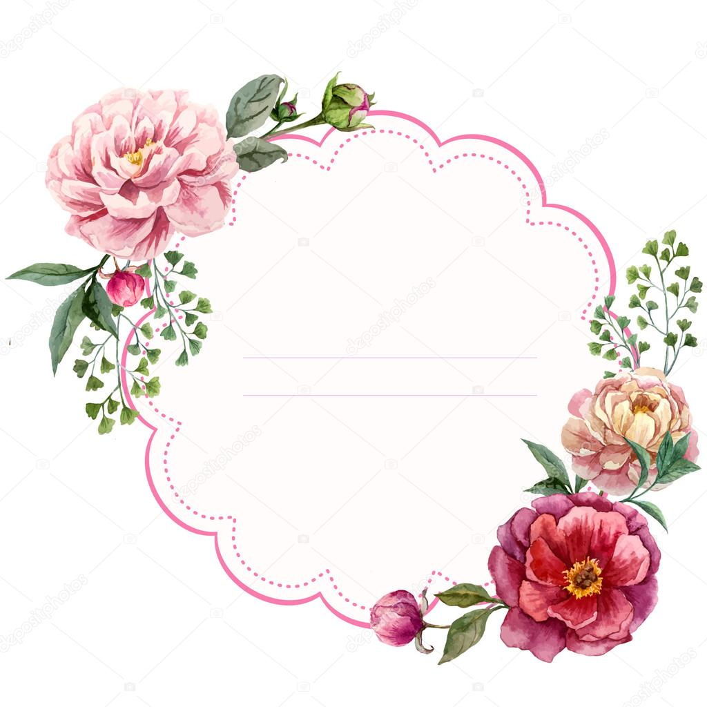 watercolor floral frame card stock vector