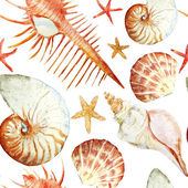Fotografie Watercolor corals, shell and starfish, pattern