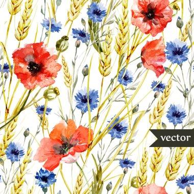 Poppy, cornflower, Watercolor flowers pattern