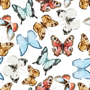 Watercolor butterflies  pattern