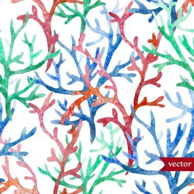 Watercolor corals set and ocean  sponge