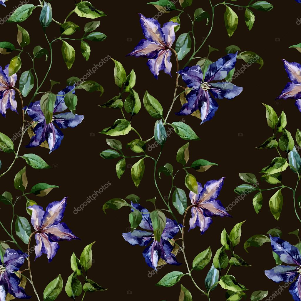 Watercolor flower pattern for  background