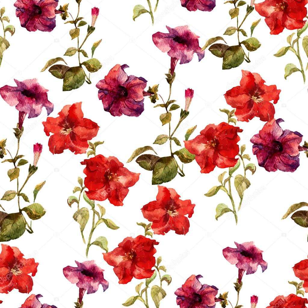 watercolor flower pattern — Stock Vector © ZeninaAsya #63678347