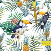 Photo Watercolor tropical   pattern