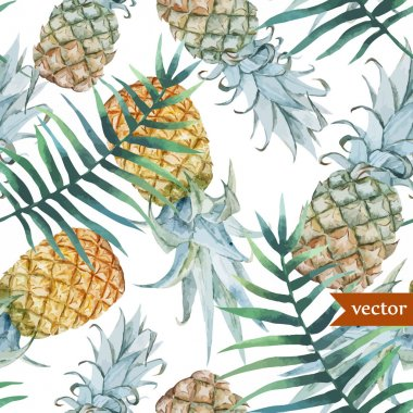 Watercolor pineapples, tropical plants and fruits - exotic pattern