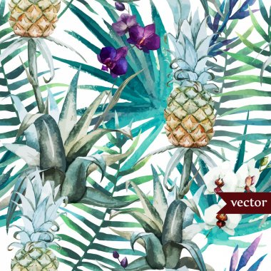 Watercolor tropical flowers  palm trees and   pineapples  vector pattern stock vector