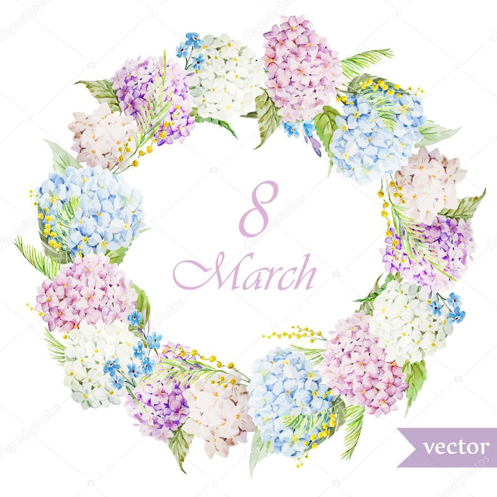 March 8, hydrangea, wreath, flowers