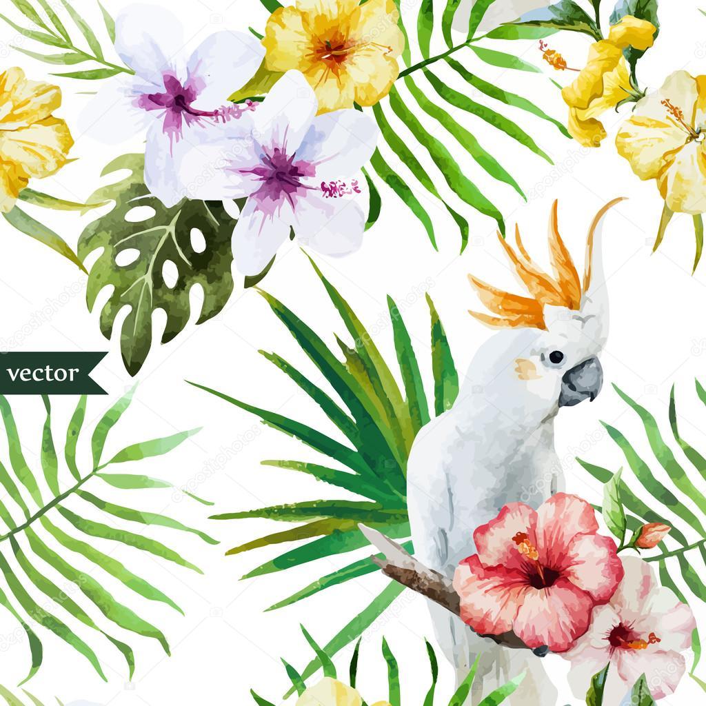 Weiß Papagei Hibiskus Tropical Palmen Blumen Muster Tapete
