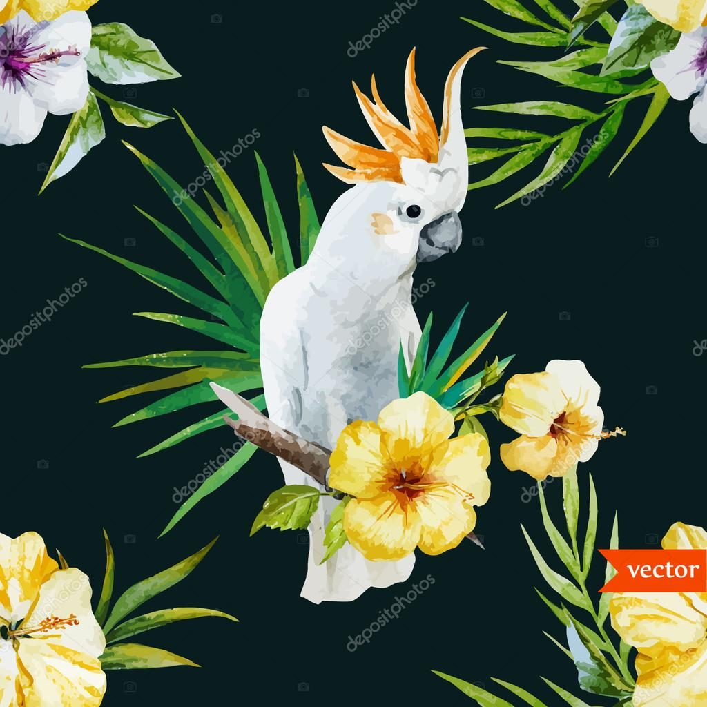 white parrot, hibiscus, tropical, palm trees, flowers, pattern, wallpaper