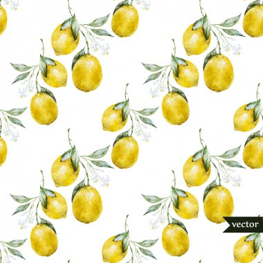 Beautiful watercolor vector pattern with yellow lemons on brunch stock vector