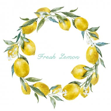 Beautiful watercolor vector frame with  fresh yellow lemons stock vector