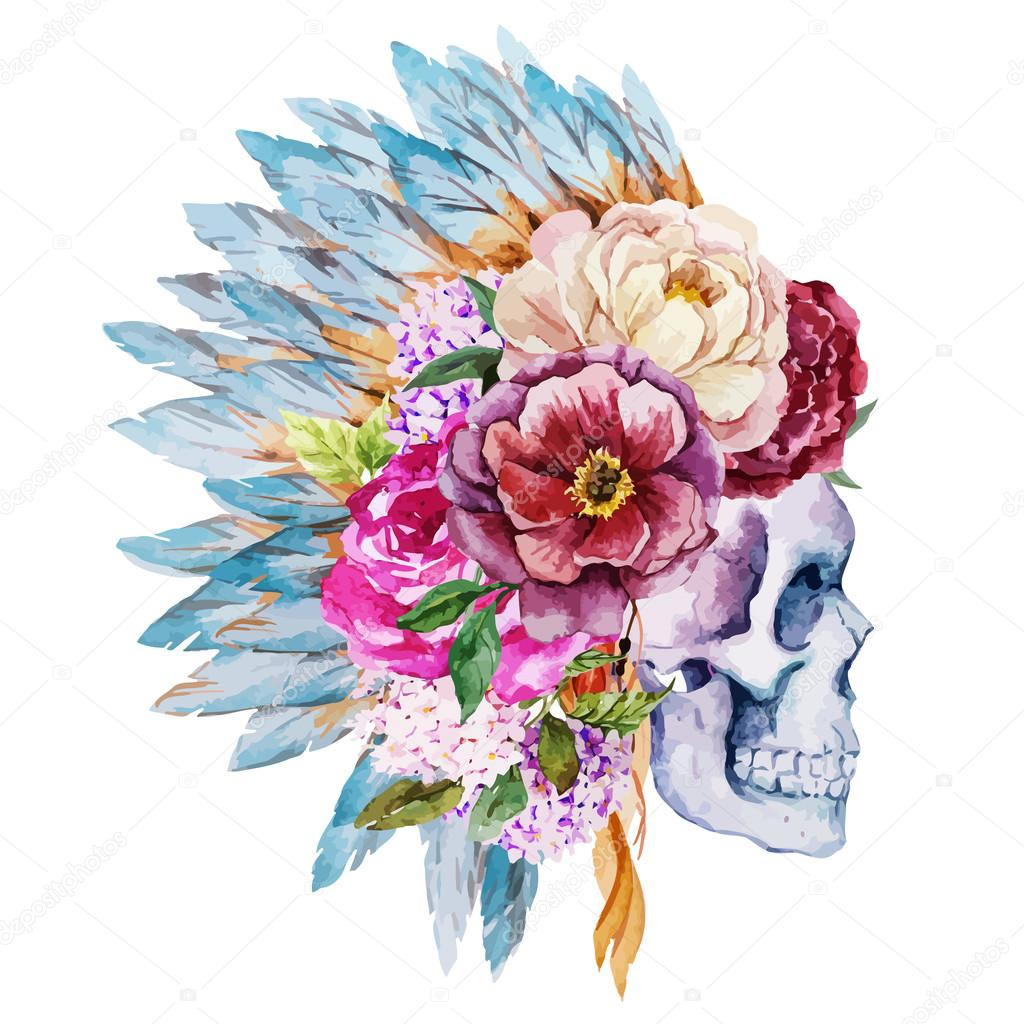 Anemones and skull