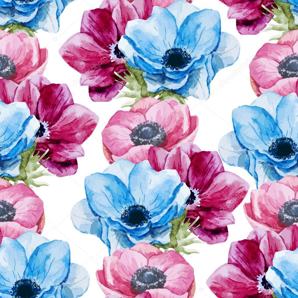 Anemones flowers pattern