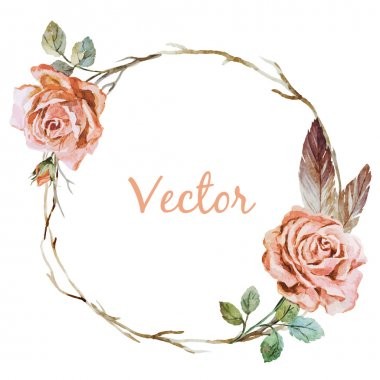 Beautiful vector image with nice watercolor rose wearth clip art vector