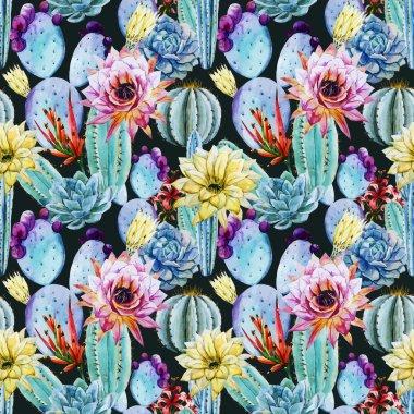 Cactus seamless patterns