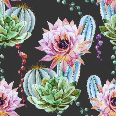 Watercolor cactus pattern