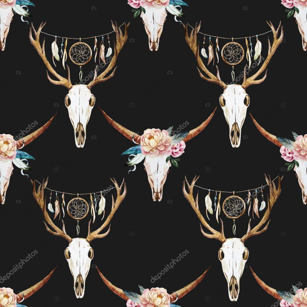 Watercolor pattern with deer head