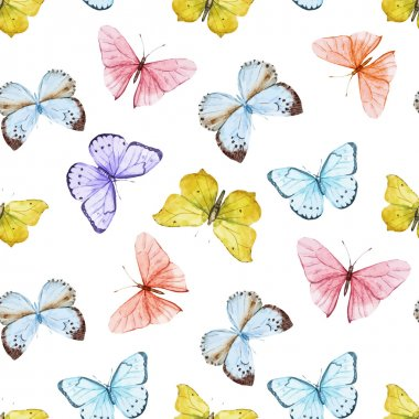 Beautiful vector pattern with nice watercolor butterflies clip art vector