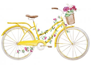 Beautiful vector image with nice watercolor bike bicycle clip art vector