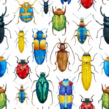 Beautiful vector pattern with nice watercolor bugs stock vector
