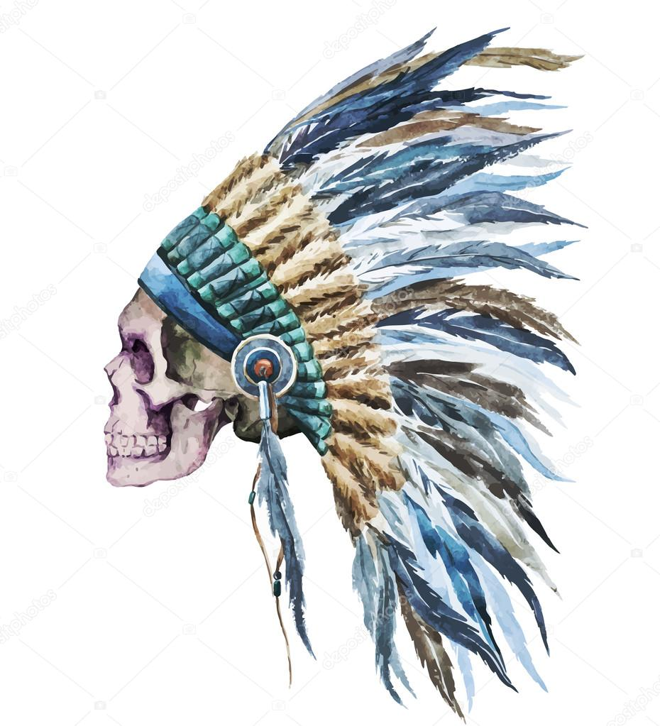 American native hat and skull