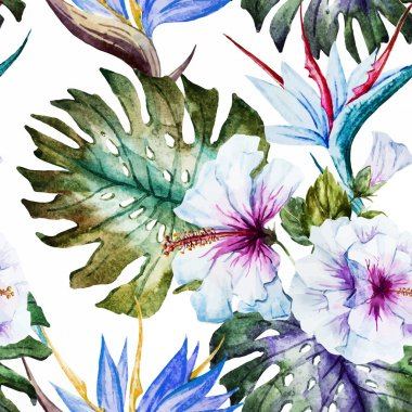 Watercolor hibiscus patterns