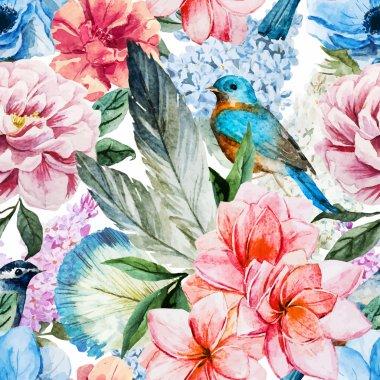 """Картина, постер, плакат, фотообои """"Акварель цветы шаблон"""", артикул 73632807"""