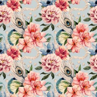 Watercolor flowers pattern