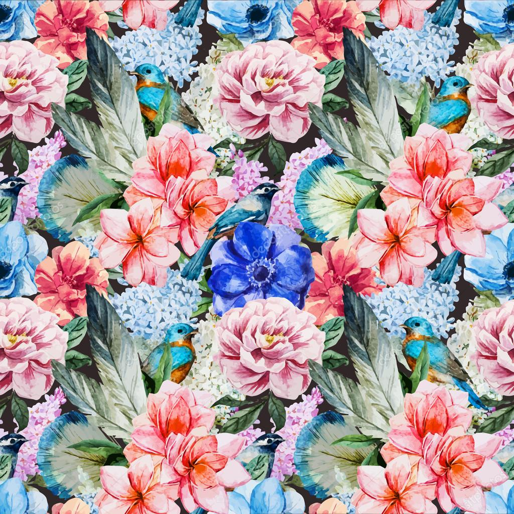 Watercolor flowers pattern