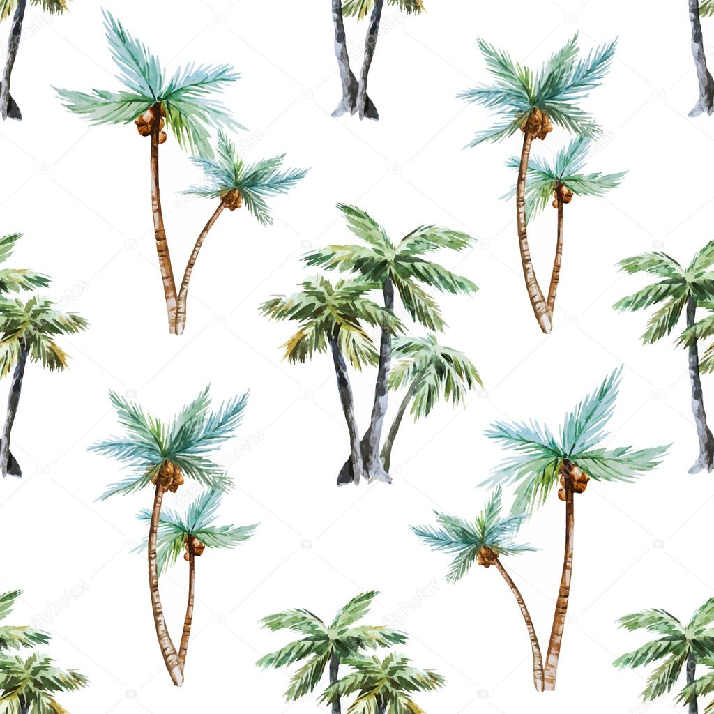 Beautiful vector pattern with nice watercolor palm trees stock vector