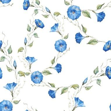Beautiful vector pattern with gentle watercolor flowers clip art vector
