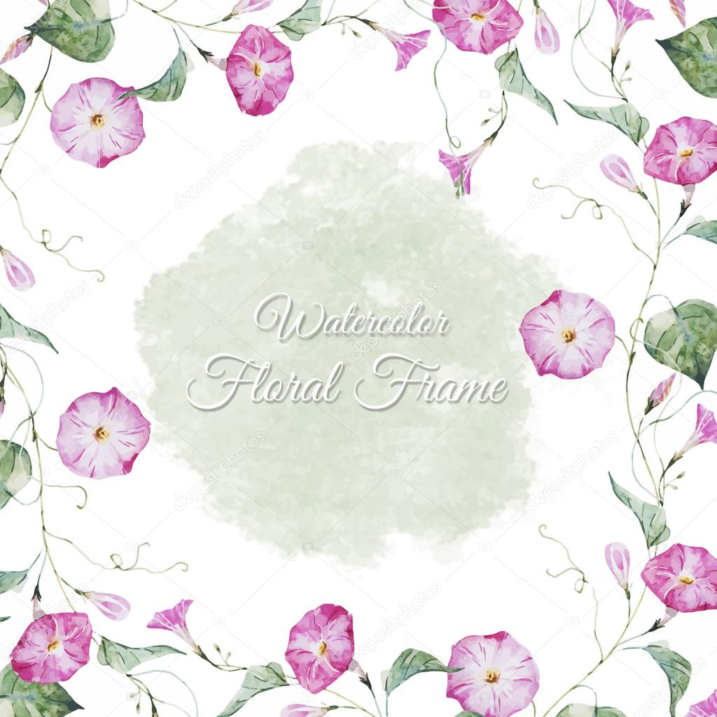 Floral watercolor frame