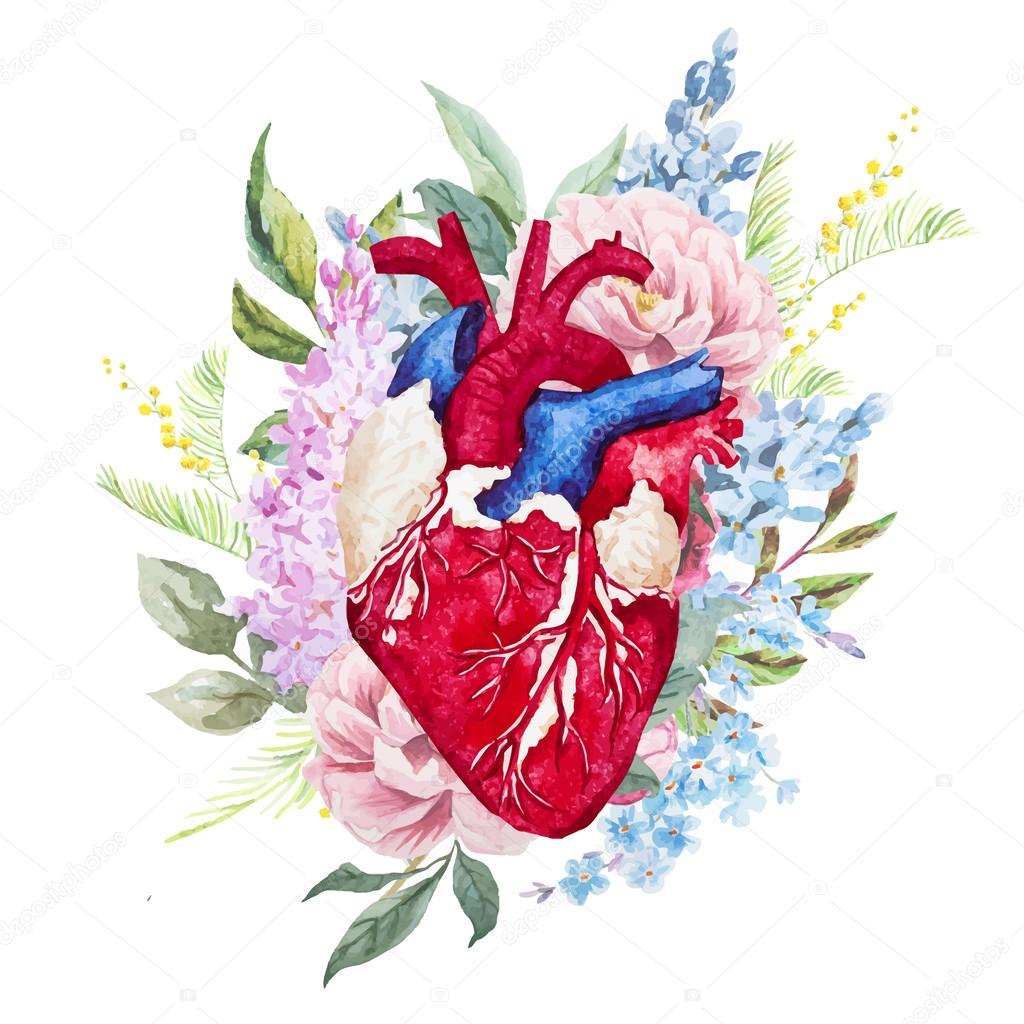 Watercolor heart with flowers